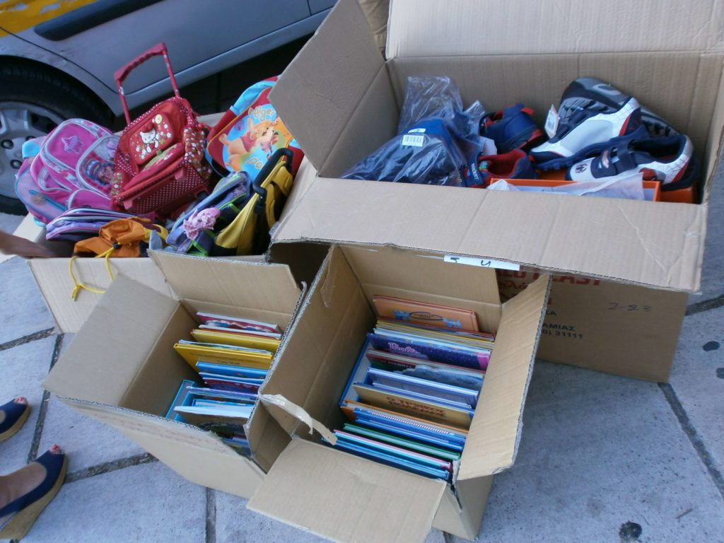 School supplies and shoes to minority school children in the area of Xanthi